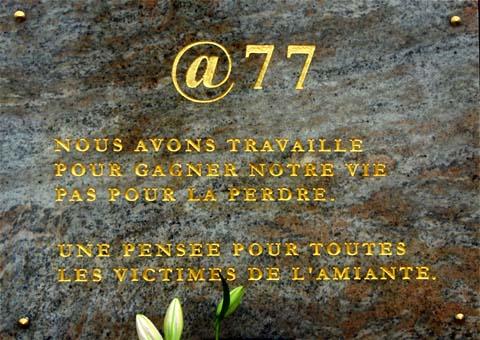 Plaque commémorative victimes de l'amiante Dammarie