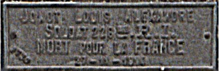 plaque de la tombe Louis Jonot