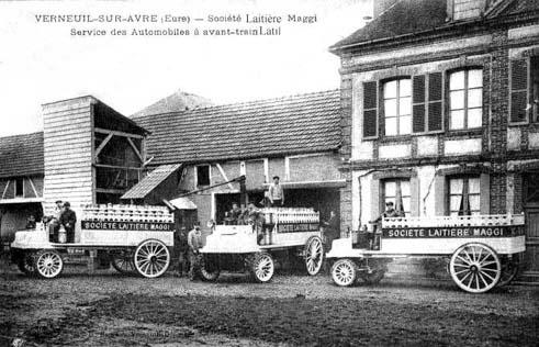 CPA laiterie Maggi et camions Latil