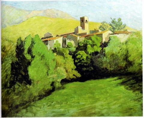 Vue sur Corneilla et le Canigou
